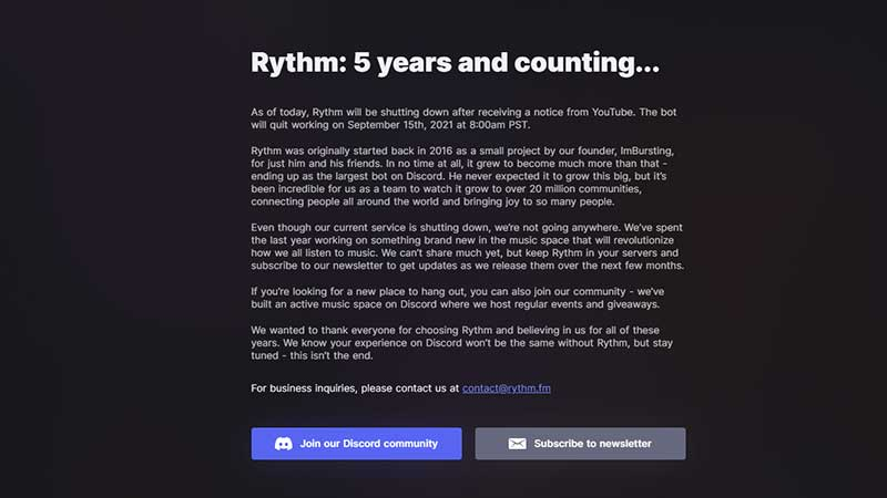Why is Rythm Bot going Offline