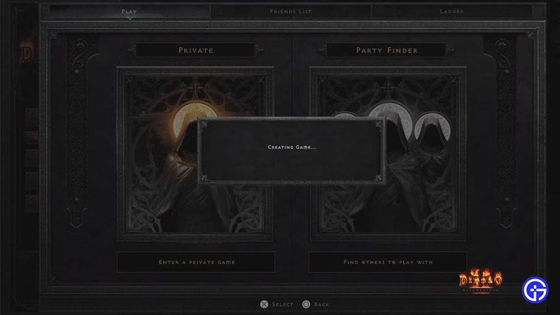 creating game stuck diablo2