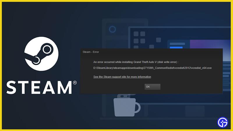 disk write error steam