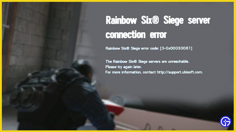 error code 30x00030081 rainbow six siege