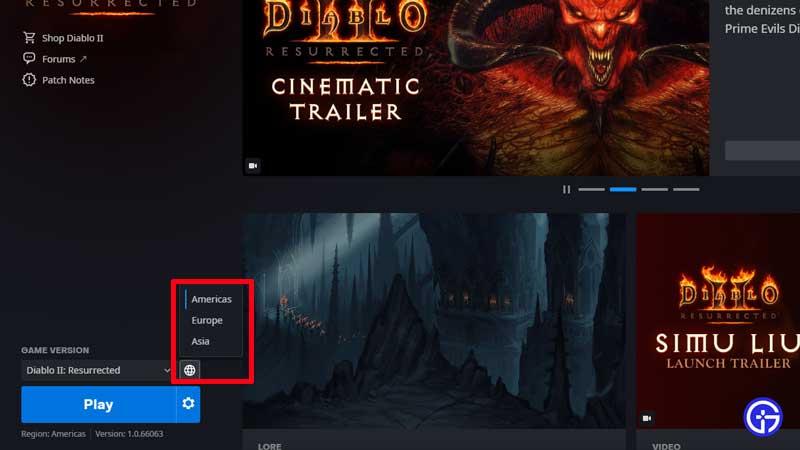 how to switch servers diablo 2 resurrected