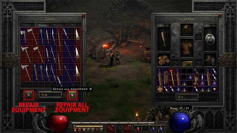 repair equipment in Diablo 2 Resurrected