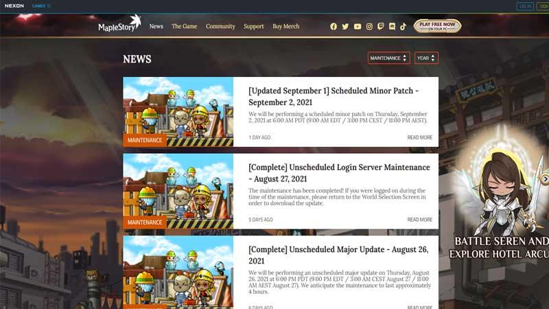 server news maplestory