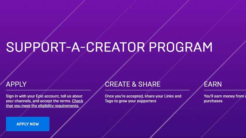 support a creator code epic program