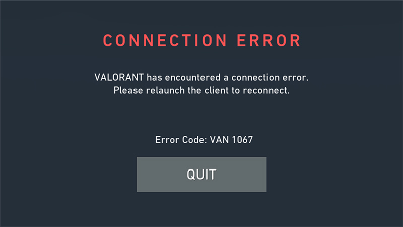 van 1067 error code
