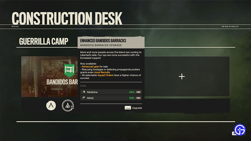 how to upgrade base in far cry 6